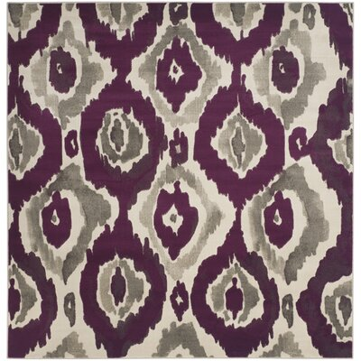 Deasia Ivory/Purple Area Rug Rug Size: Square 67