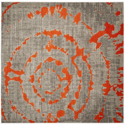Deasia Light Gray & Orange Area Rug Rug Size: Square 67