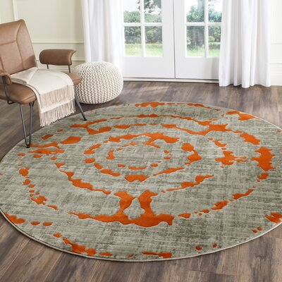 Deasia Light Gray & Orange Area Rug Rug Size: Round 67