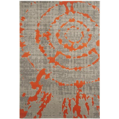 Deasia Light Gray & Orange Area Rug Rug Size: 6 x 9