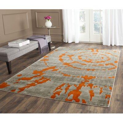 Deasia Light Gray & Orange Area Rug Rug Size: 52 x 76