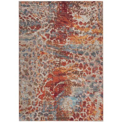 Abdoulaye Brown/Blue Area Rug Rug Size: Round 67