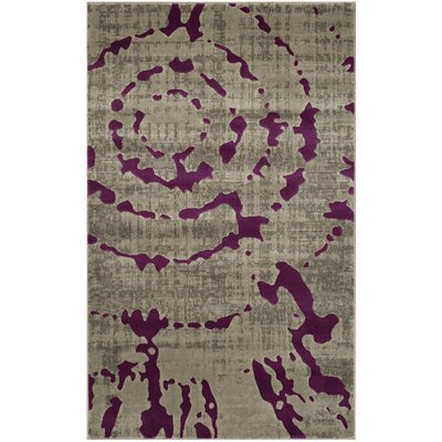Varnai Light Gray/Purple Area Rug Rug Size: 3 x 5