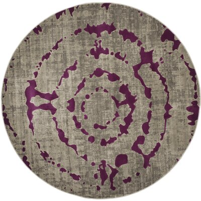 Varnai Light Gray/Purple Area Rug Rug Size: Round 67