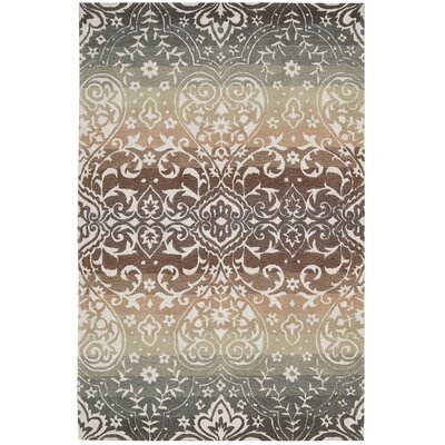 Terhune Hand-Woven Gray/Brown Area Rug Rug Size: Rectangle 5 x 76
