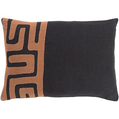 Alona Rectangular Linen Lumbar Pillow Color: Black/Rust