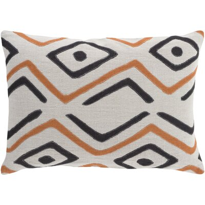 Alona Linen Graphic Print Lumbar Pillow Color: Light Gray/Rust/Black