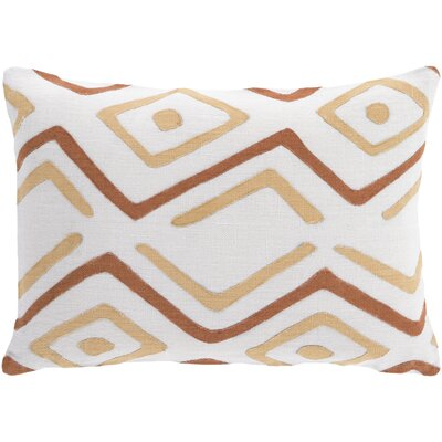 Alona Linen Graphic Print Lumbar Pillow Color: Beige/Rust/Ivory