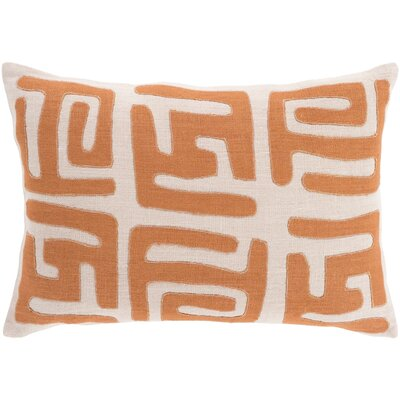Alona Graphic Print Down Lumbar Pillow Color: Rust/Beige