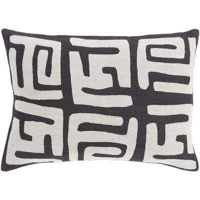 Alona Graphic Print Down Lumbar Pillow Color: Light Gray/Black