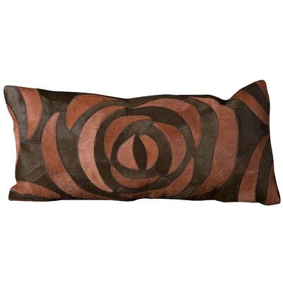 Riva Natural Leather Hide Lumbar Pillow Color: Red