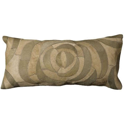 Riva Natural Leather Hide Lumbar Pillow Color: Sage