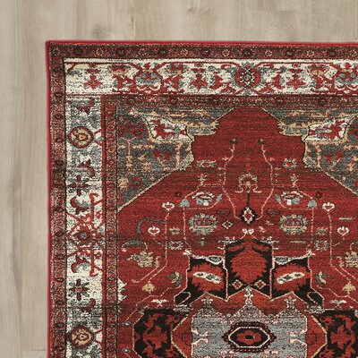 Shelie Goravan Red/Gray Area Rug Rug Size: Rectangle 5 x 76