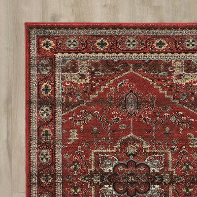 Shelie Red/Gray/Beige Area Rug Rug Size: Rectangle 2 x 3