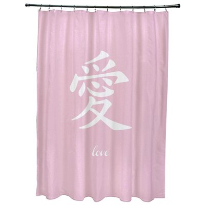Fatma Love Print Shower Curtain Color: Pink