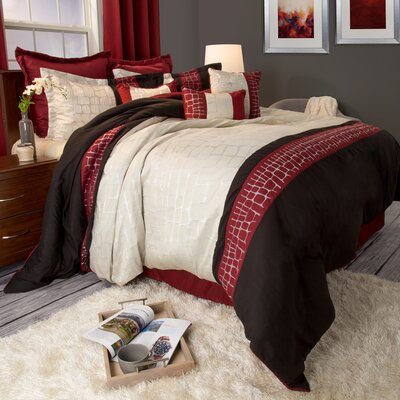 Suwannee Comforter Set Size: Queen, Color: Burgundy