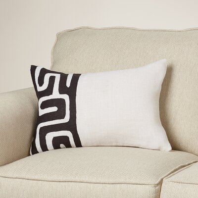 Youcef Linen Lumbar Pillow Color: Black/Ivory