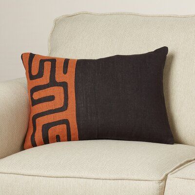 Alona Down Rectangular Lumbar Pillow Color: Black/Rust