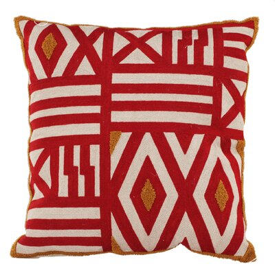 Jude Embroidered Throw Pillow Color: Red