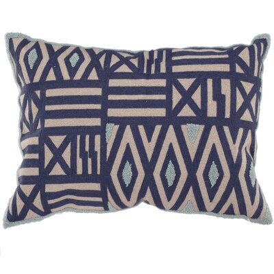 Embroidered Throw Pillow Color: Blue