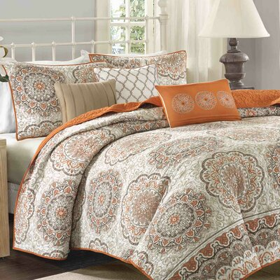 Dhawan 6 Piece Coverlet Set Color: Orange, Size: Full/Queen
