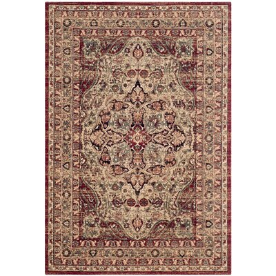 Leija Creme/Red Area Rug Rug Size: 10 x 14