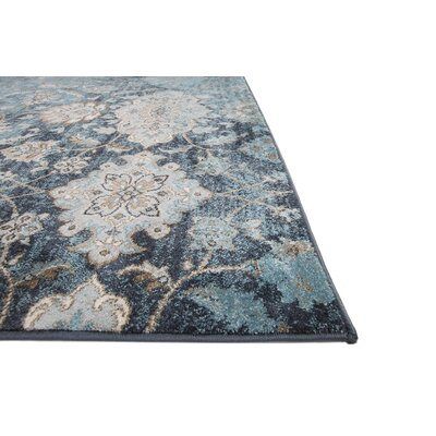 Aquashicola Distressed Blue Area Rug Rug Size: 53 x 72