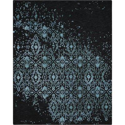 Hadley Blue/Black Area Rug Rug Size: 79 x 99