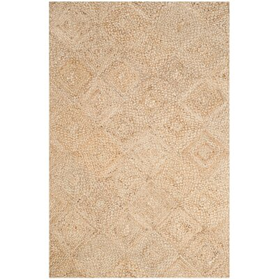 Abrahams Hand-Woven Beige Area Rug Rug Size: 8 x 10
