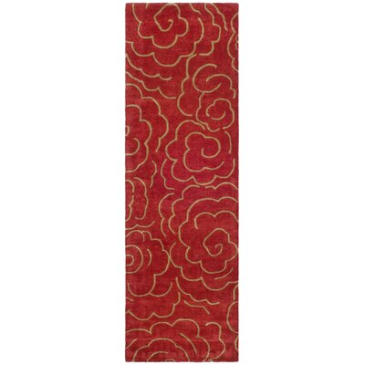 Karuna Hand-Tufted Red Area Rug Rug Size: Runner 26 x 6