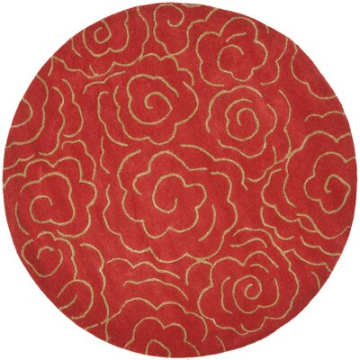 Karuna Hand-Tufted Red Area Rug Rug Size: Round 6'