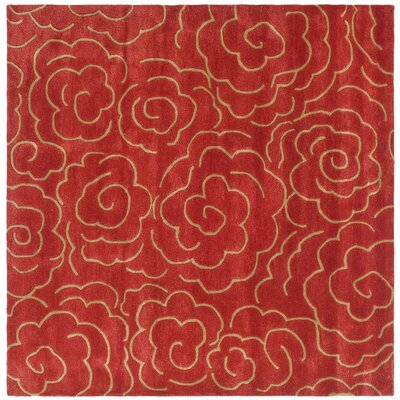 Karuna Hand-Tufted Red Area Rug Rug Size: Square 6
