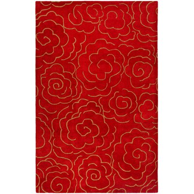 Karuna Hand-Tufted Red Area Rug Rug Size: 7'6