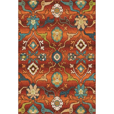 Ansonville Orange Area Rug Rug Size: 53 x 76