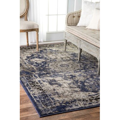 Dippach Blue/Beige Area Rug Rug Size: Rectangle 4 x 6