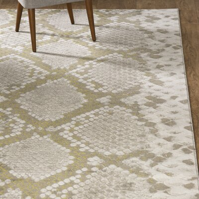 Fujii Light gray/Lime Area Rug Rug Size: Rectangle 22 x 3