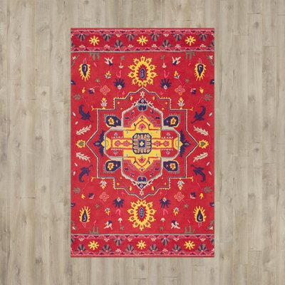 Delia Hand-Tufted Red Area Rug Rug Size: Runner 26 x 8