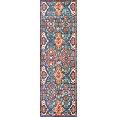 Brooklyn Orange/Blue Area Rug Rug Size: Runner 26 x 8