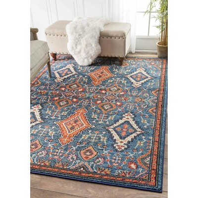 Brooklyn Orange/Blue Area Rug Rug Size: Round 53