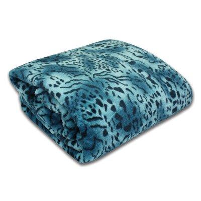 Bethlehem Plush Leopard Print Blanket Size: Twin, Color: Aqua