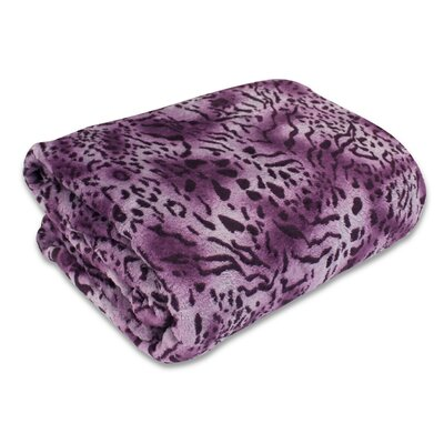 Bethlehem Plush Leopard Print Blanket Size: Full/Queen, Color: Plum