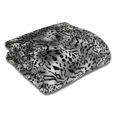 Bethlehem Plush Leopard Print Blanket Size: Twin, Color: Snow