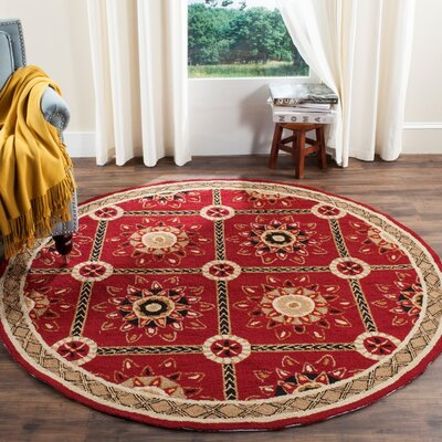 Noham Hand-Hooked Red/Natural Area Rug Rug Size: Round 8 x 8