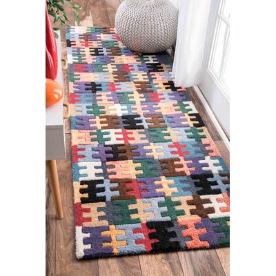 Pippa Hand-Tufted Orange/Purple Area Rug Rug Size: Runner 26 x 8