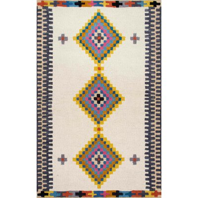 Pitt Hand-Tufted Beige Area Rug Rug Size: Rectangle 76 x 96