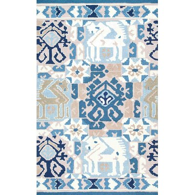 Pico Hand-Hooked Gray/Blue Area Rug Rug Size: 76 x 96