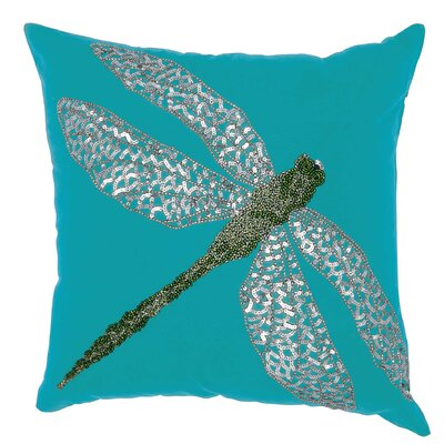 Telford Beaded Dragonfly Indoor/Outdoor Throw Pillow Color: Turquoise/Green