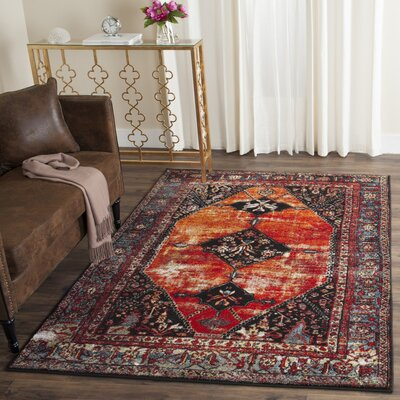 Byron Orange Area Rug Rug Size: 53 x 76