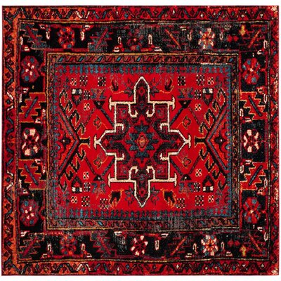 Barrera Red/Black Area Rug Rug Size: Square 67