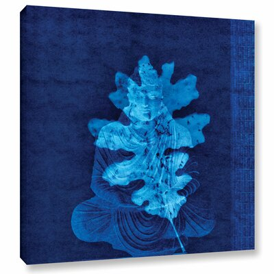 Blue Leaf Buddha Graphic Art on Wrapped Canvas WDMG4281 31751856